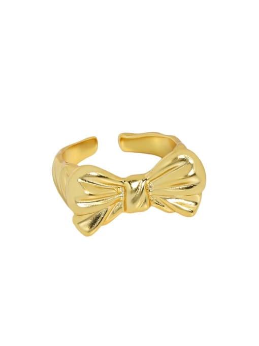 18K gold [14 adjustable 925 Sterling Silver Bowknot Vintage Band Ring